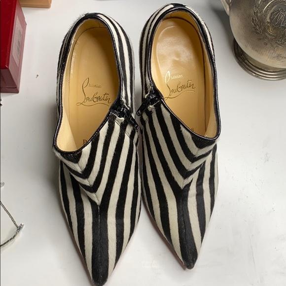 Christian Louboutin Zebra stripe red bottom heels
